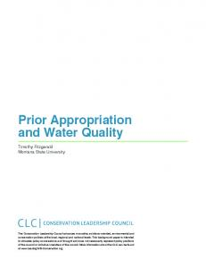 Prior Appropriation and Water Quality