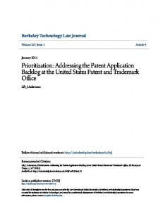 Prioritization: Addressing the Patent Application Backlog at the United States Patent and Trademark Office