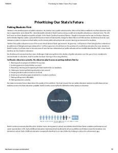 Prioritizing Our tate Future