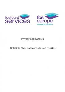 Privacy and cookies. Richtlinie über datenschutz und cookies