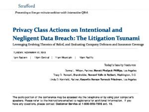 Privacy Class Actions on Intentional and Negligent Data Breach: The Litigation Tsunami