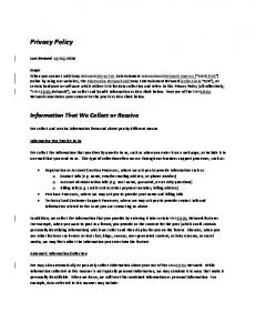 Privacy Policy. Information That We Collect or Receive. Last Revised: