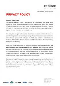 PRIVACY POLICY. Last Updated: 15 January 2010