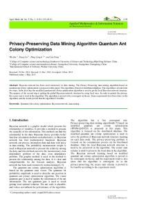 Privacy-Preserving Data Mining Algorithm Quantum Ant Colony Optimization