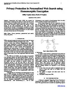 Privacy Protection in Personalized Web Search using Homomorphic Encryption