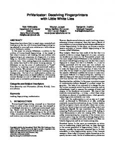 PriVaricator: Deceiving Fingerprinters with Little White Lies