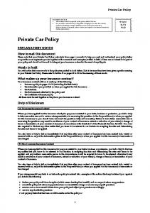 Private Car Policy EXPLANATORY NOTES