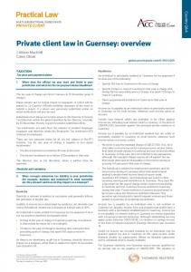 Private client law in Guernsey: overview