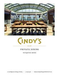 private dining reception menu 12 s michigan ave chicago, il