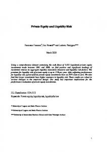 Private Equity and Liquidity Risk