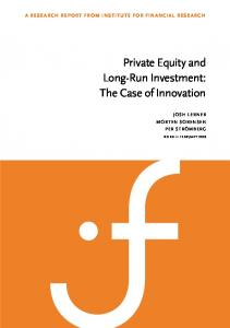 Private Equity and Long-Run Investment: The Case of Innovation
