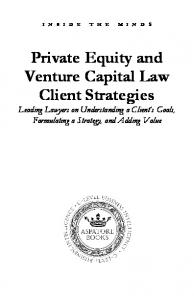Private Equity and Venture Capital Law Client Strategies