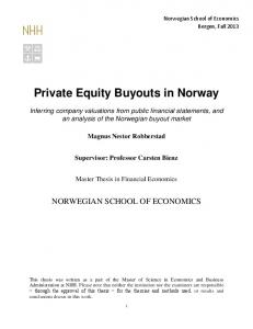 Private Equity Buyouts in Norway