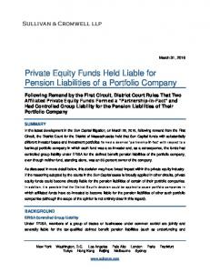 Private Equity Funds Held Liable for Pension Liabilities of a Portfolio Company