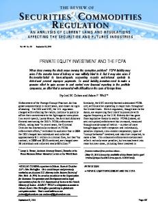 PRIVATE EQUITY INVESTMENT AND THE FCPA