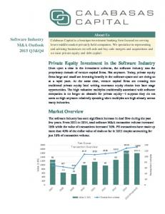 Private Equity Investment in the Software Industry. Market Overview. Software Industry M&A Outlook 2015 Q3&Q4. About Us