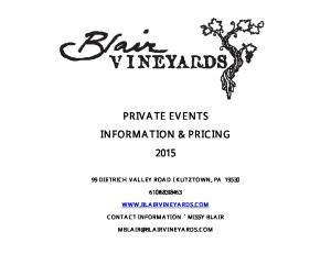 PRIVATE EVENTS INFORMATION & PRICING 2015