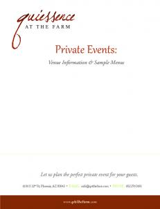 Private Events: Venue Information & Sample Menus. Let us plan the perfect private event for your guests