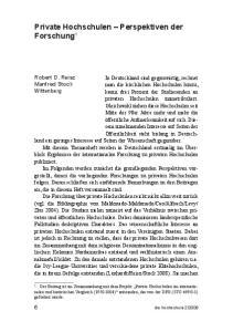 Private Hochschulen Perspektiven der Forschung 1