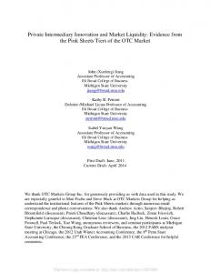 Private Intermediary Innovation and Market Liquidity: Evidence from the Pink Sheets Tiers of the OTC Market
