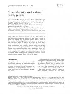 Private label price rigidity during holiday periods