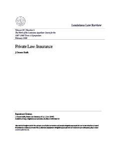 Private Law: Insurance