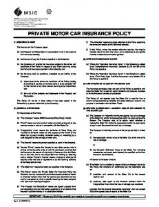 PRIVATE MOTOR CAR INSURANCE POLICY