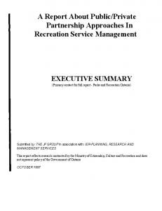 Private Partnership Approaches In Recreation Service Management