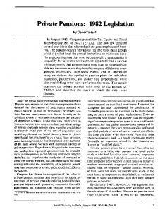 Private Pensions: 1982 Legislation