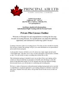 Private Pilot Licence Outline