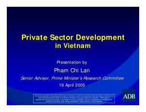 Private Sector Development in Vietnam