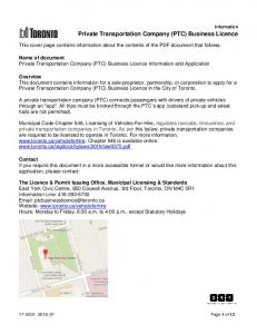Private Transportation Company (PTC) Business Licence