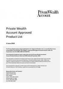 Private Wealth Account Approved Product List