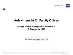 Private Wealth Management Alumni e.v. 6. November 2015