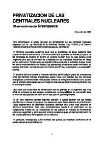 PRIVATIZACION DE LAS CENTRALES NUCLEARES