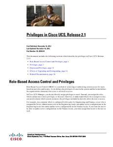 Privileges in Cisco UCS, Release 2.1