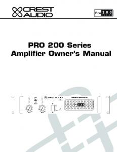 PRO 200 Series Amplifier Owner s Manual