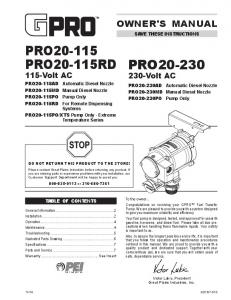 PRO PRO20-115RD 115-Volt AC. PRO Volt AC OWNER'S MANUAL SAVE THESE INSTRUCTIONS