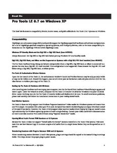 Pro Tools LE 6.7 on Windows XP