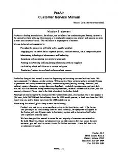 ProAir Customer Service Manual