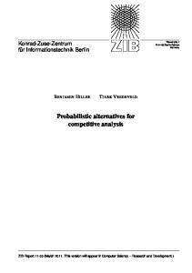Probabilistic alternatives for competitive analysis
