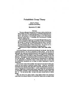 Probabilistic Group Theory