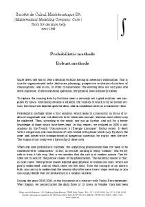Probabilistic methods. Robust methods