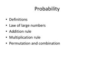 Probability. Definitions Law of large numbers Addition rule Multiplication rule Permutation and combination