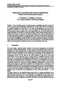 PROBABILITY DISTRIBUTION OF ROCK PROPERTIES: EFFECT ON THE ROCK BEHAVIOUR