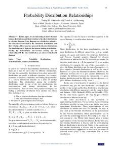 Probability Distribution Relationships