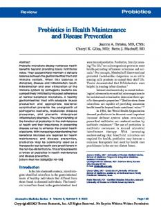 Probiotics in Health Maintenance and Disease Prevention
