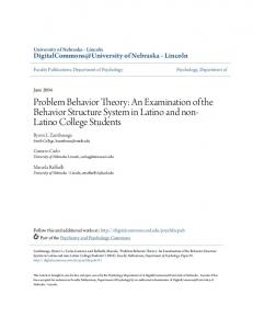 Problem Behavior Theory: An Examination of the Behavior Structure System in Latino and non- Latino College Students