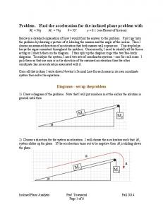 Problem. Find the acceleration for the inclined plane problem with