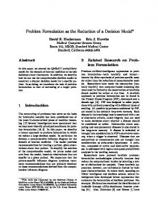 Problem Formulation as the Reduction of a Decision Model